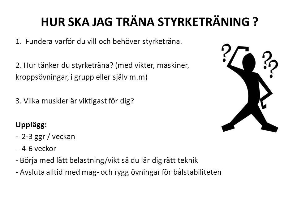 HUR SKA JAG TRÄNA STYRKETRÄNING