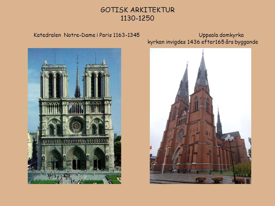 GOTISK ARKITEKTUR 1130-1250 Katedralen Notre-Dame i Paris 1163-1345 Uppsala domkyrka kyrkan invigdes 1436 efter165 års byggande