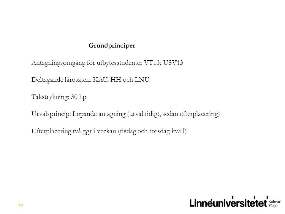 Grundprinciper Antagningsomgång för utbytesstudenter VT13: USV13. Deltagande lärosäten: KAU, HH och LNU.