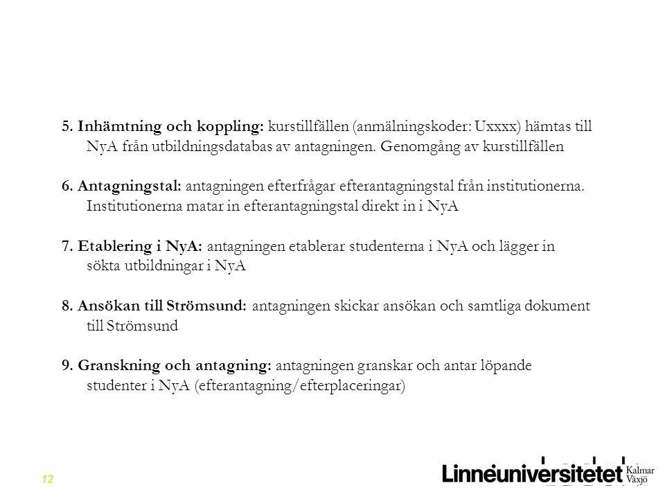 5. Inhämtning och koppling: kurstillfällen (anmälningskoder: Uxxxx) hämtas till NyA från utbildningsdatabas av antagningen. Genomgång av kurstillfällen
