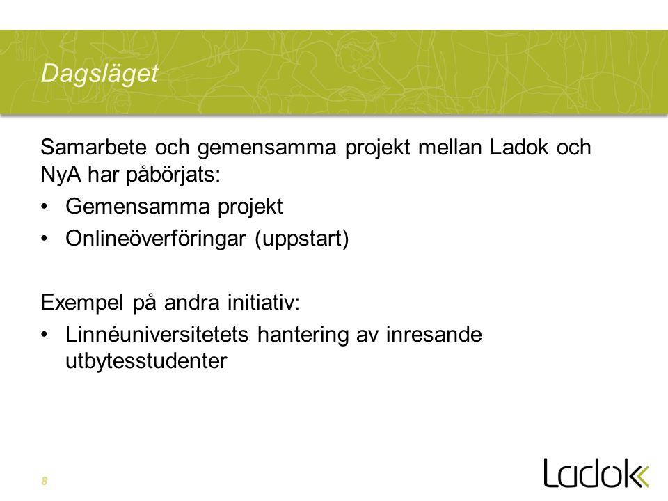 Dagsläget Samarbete och gemensamma projekt mellan Ladok och NyA har påbörjats: Gemensamma projekt.