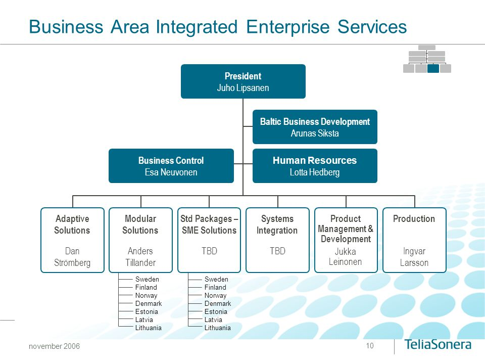 Business Area Integrated Enterprise Services
