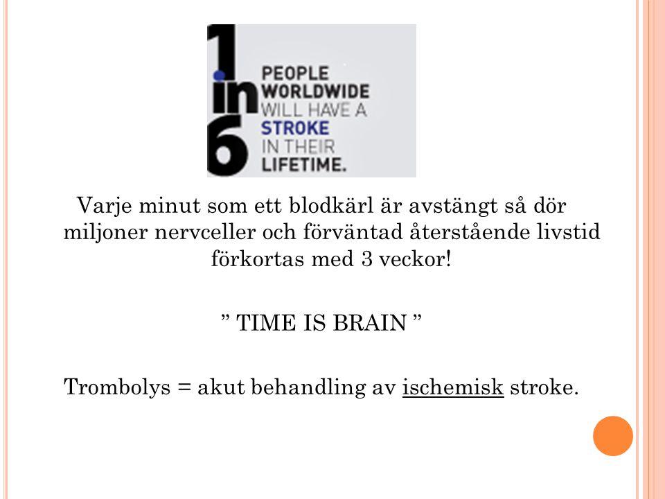 Trombolys = akut behandling av ischemisk stroke.