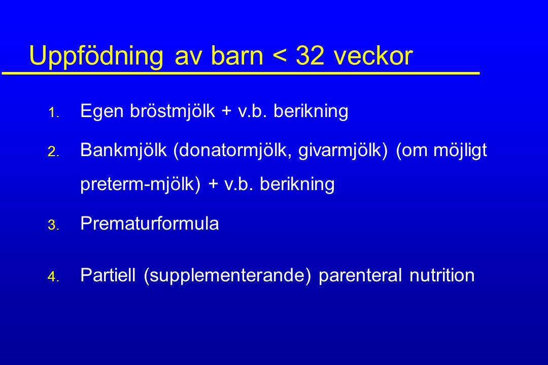 Uppfödning av barn < 32 veckor