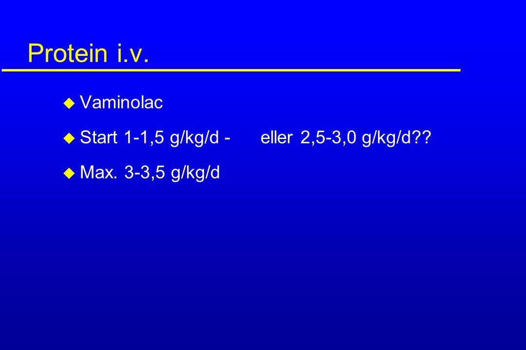 Protein i.v. Vaminolac Start 1-1,5 g/kg/d - eller 2,5-3,0 g/kg/d
