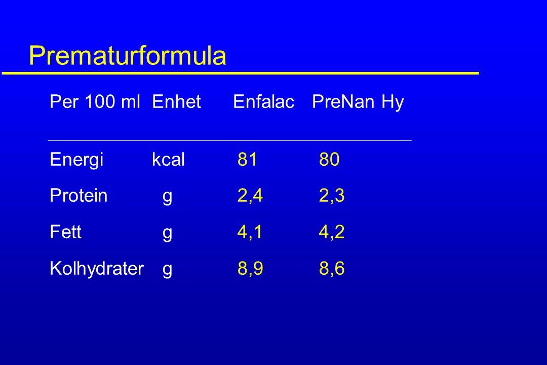 Prematurformula Per 100 ml Enhet Enfalac PreNan Hy Energi kcal 81 80