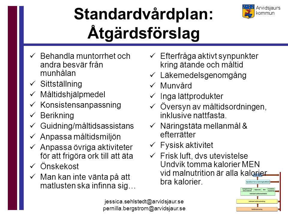 Standardvårdplan: Åtgärdsförslag