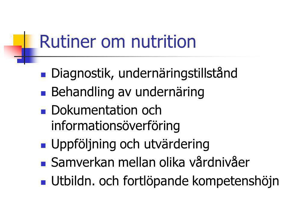 Rutiner om nutrition Diagnostik, undernäringstillstånd