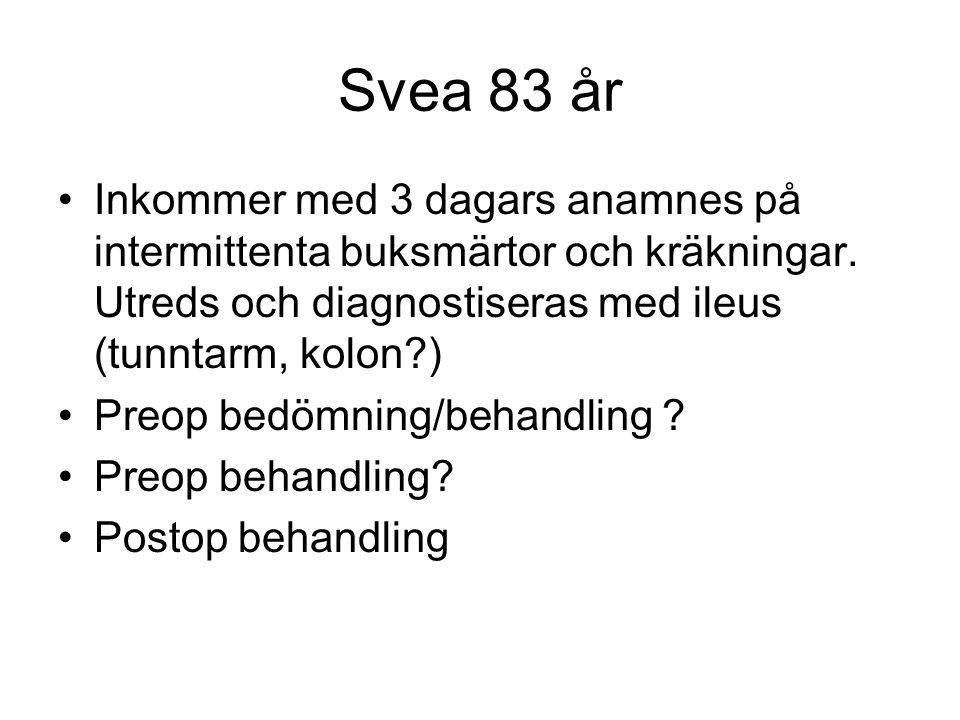 Svea 83 år Inkommer med 3 dagars anamnes på intermittenta buksmärtor och kräkningar. Utreds och diagnostiseras med ileus (tunntarm, kolon )