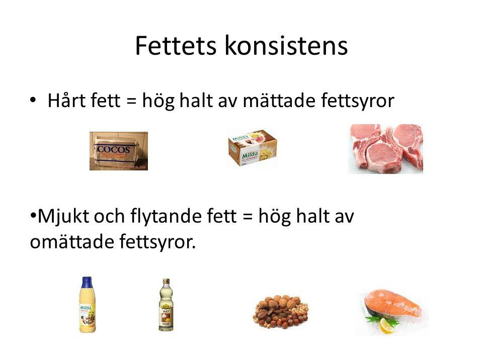 Fettets konsistens Hårt fett = hög halt av mättade fettsyror