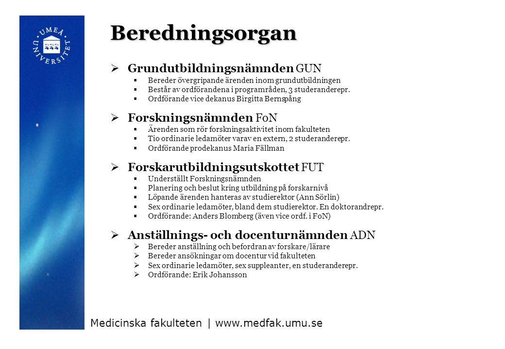 Beredningsorgan Grundutbildningsnämnden GUN Forskningsnämnden FoN