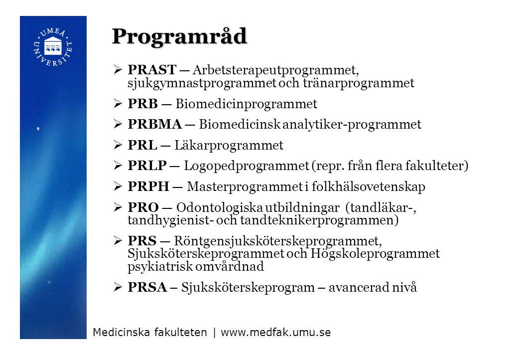 Programråd PRAST — Arbetsterapeutprogrammet, sjukgymnastprogrammet och tränarprogrammet PRB — Biomedicinprogrammet.