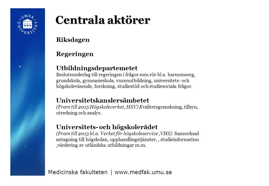 Centrala aktörer Riksdagen Regeringen