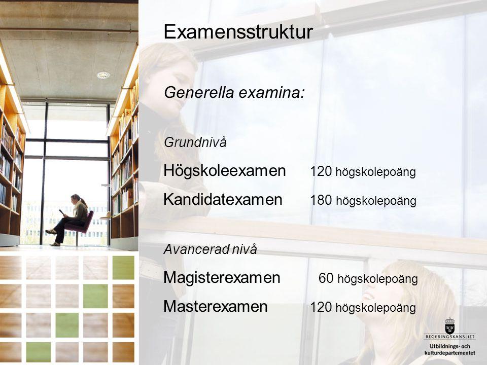 Examensstruktur Generella examina: Högskoleexamen 120 högskolepoäng