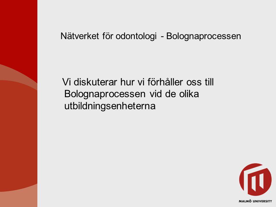 Nätverket för odontologi - Bolognaprocessen
