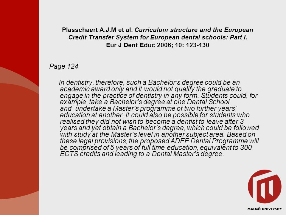 Plasschaert A.J.M et al. Curriculum structure and the European Credit Transfer System for European dental schools: Part I. Eur J Dent Educ 2006; 10: 123-130