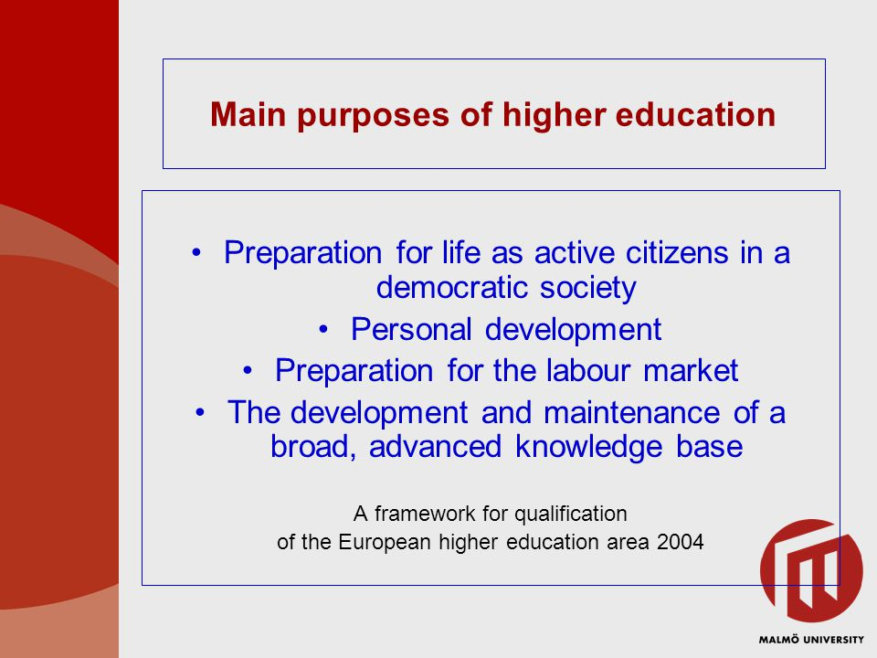 Main purposes of higher education