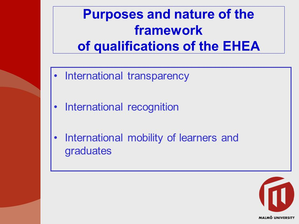 Purposes and nature of the framework of qualifications of the EHEA