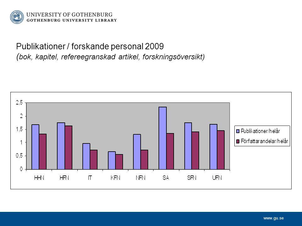 Publikationer / forskande personal 2009 (bok, kapitel, refereegranskad artikel, forskningsöversikt)