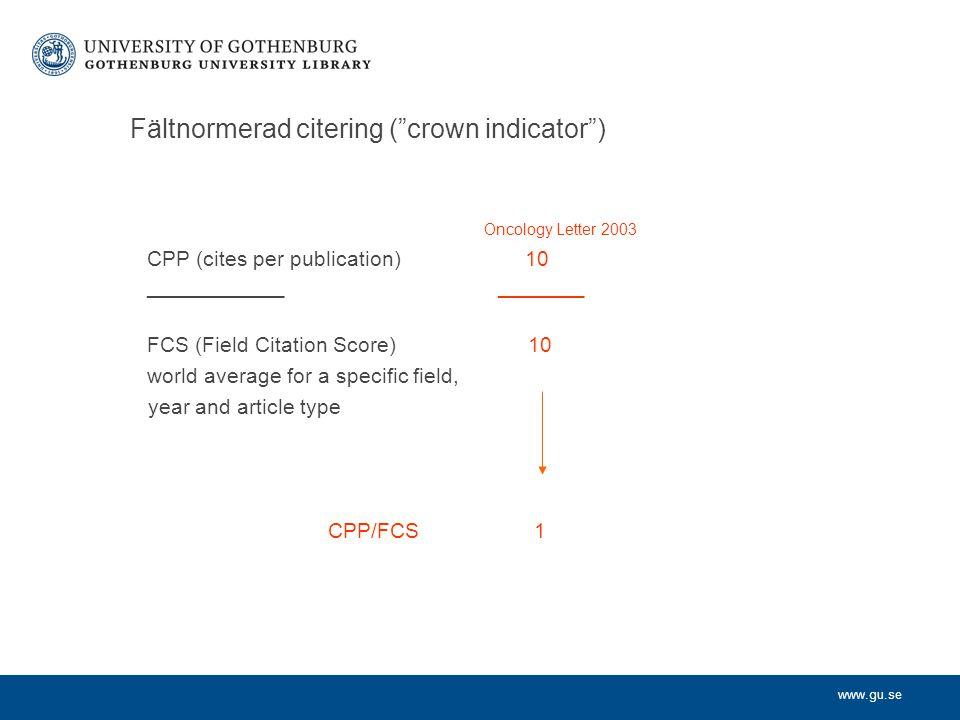 Fältnormerad citering ( crown indicator )