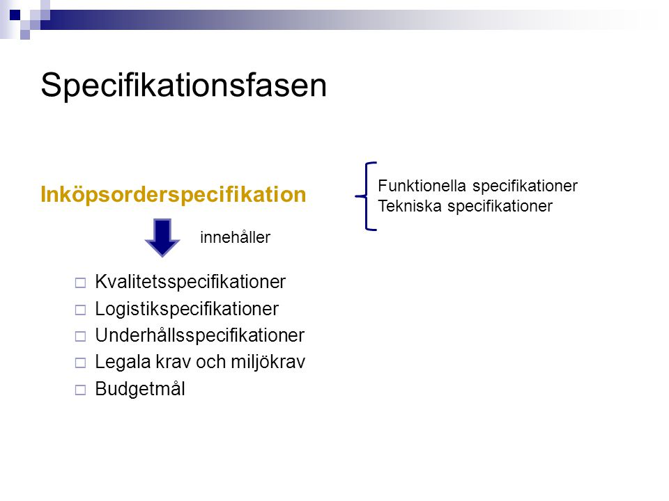Specifikationsfasen Inköpsorderspecifikation Kvalitetsspecifikationer