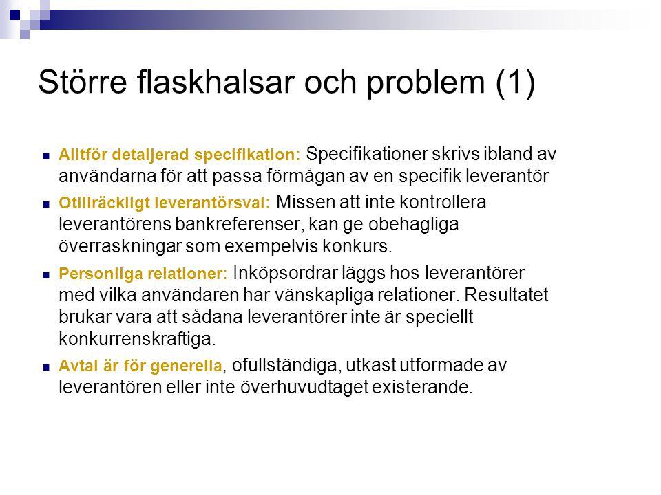 Större flaskhalsar och problem (1)