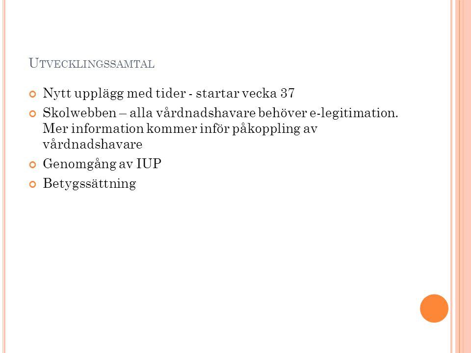 Utvecklingssamtal Nytt upplägg med tider - startar vecka 37.