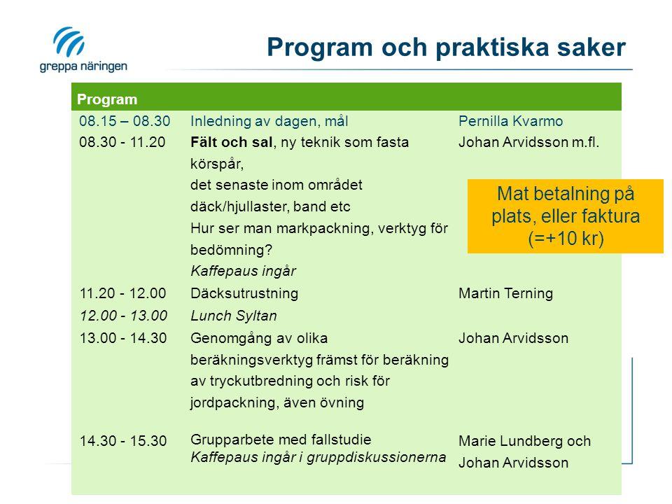Program och praktiska saker