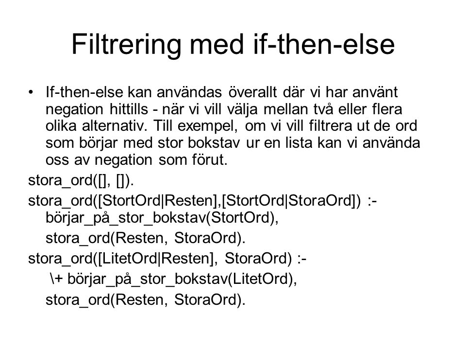 Filtrering med if-then-else
