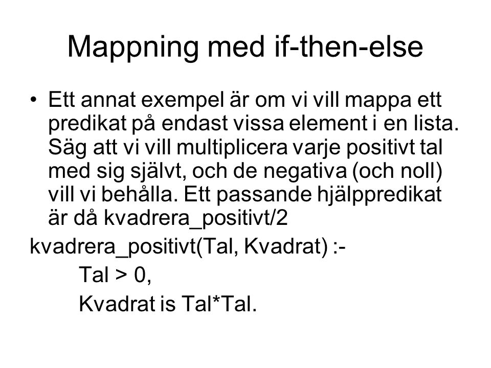 Mappning med if-then-else