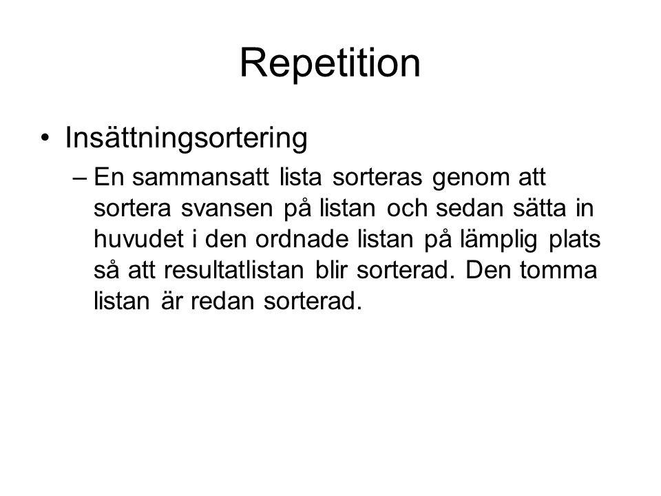 Repetition Insättningsortering
