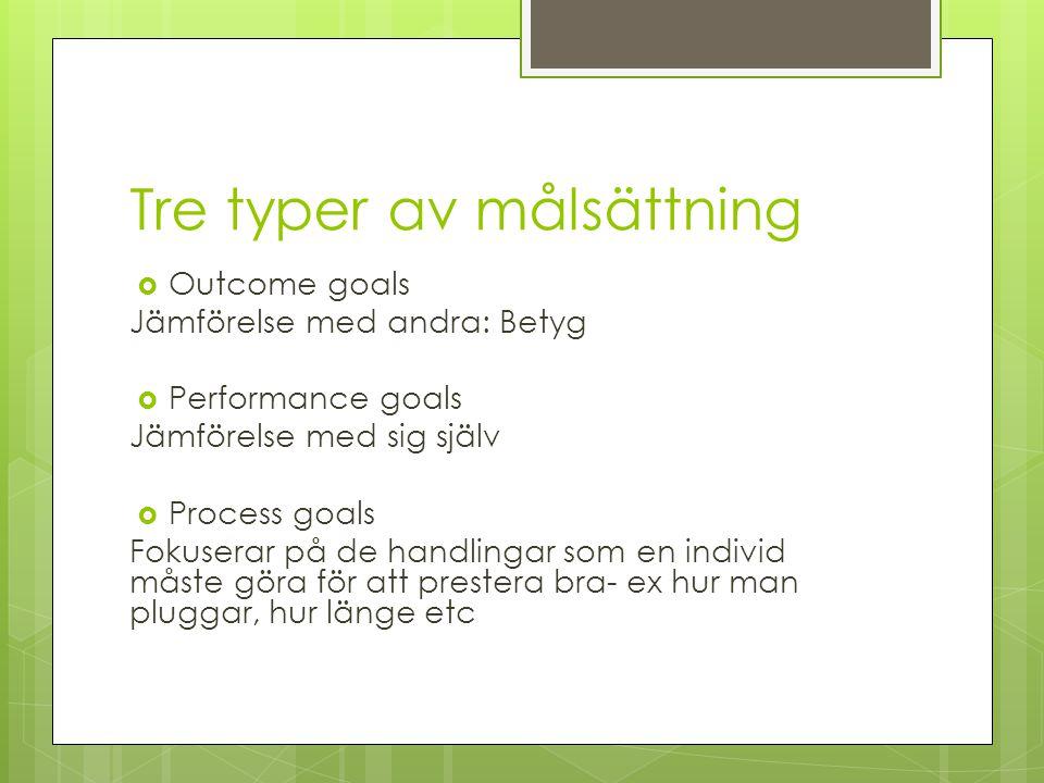Tre typer av målsättning