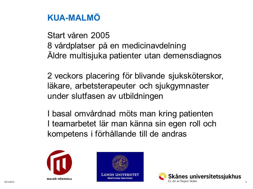 KUA-MALMÖ Start våren 2005. 8 vårdplatser på en medicinavdelning. Äldre multisjuka patienter utan demensdiagnos.