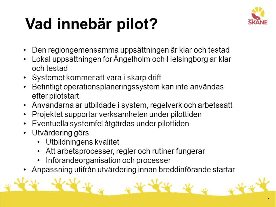 Vad innebär pilot Den regiongemensamma uppsättningen är klar och testad. Lokal uppsättningen för Ängelholm och Helsingborg är klar och testad.