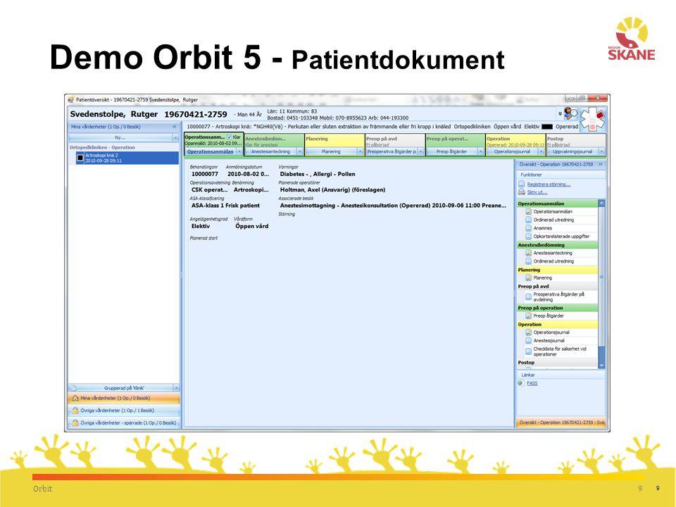 Demo Orbit 5 - Patientdokument