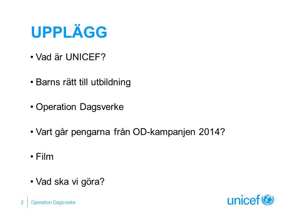 Upplägg Vad är UNICEF Barns rätt till utbildning Operation Dagsverke