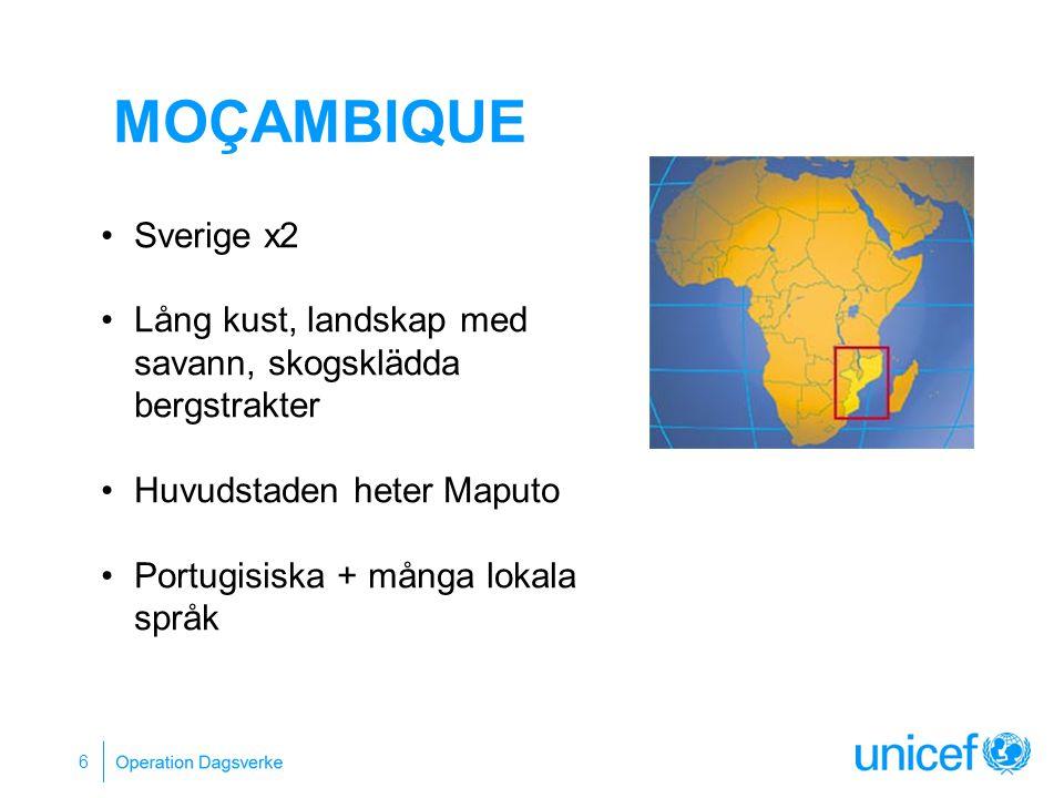 Moçambique Sverige x2. Lång kust, landskap med savann, skogsklädda bergstrakter. Huvudstaden heter Maputo.