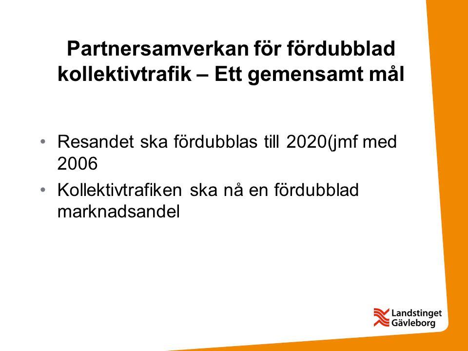 Partnersamverkan för fördubblad kollektivtrafik – Ett gemensamt mål