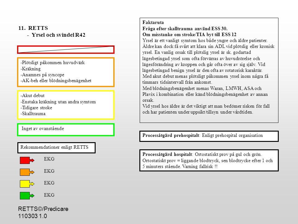 11. RETTS - Yrsel och svindel R42 RETTS©/Predicare 110303 1.0