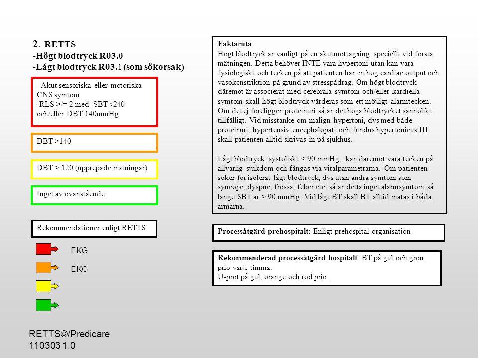 2. RETTS Högt blodtryck R03.0 Lågt blodtryck R03.1 (som sökorsak)