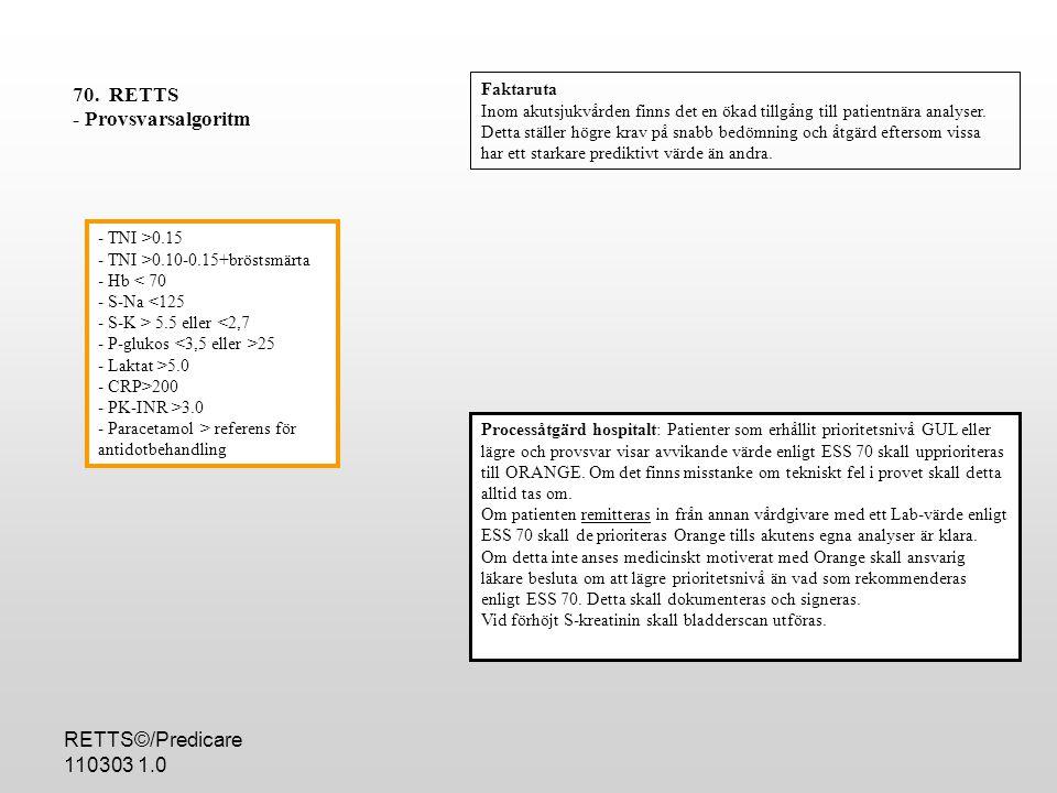 70. RETTS - Provsvarsalgoritm RETTS©/Predicare 110303 1.0 Faktaruta