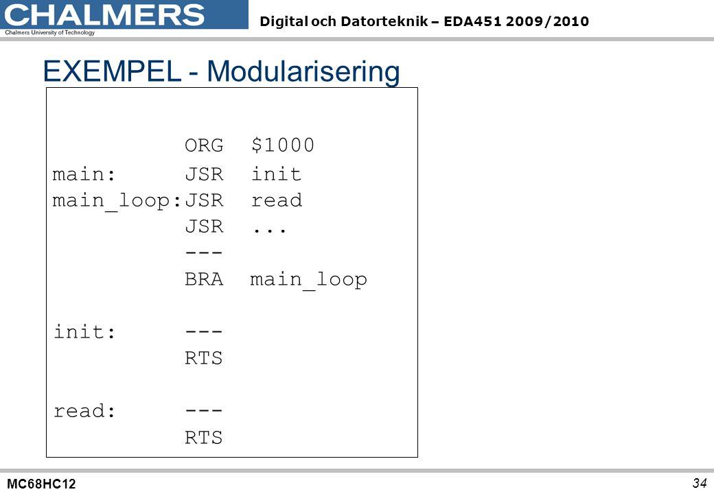 EXEMPEL - Modularisering