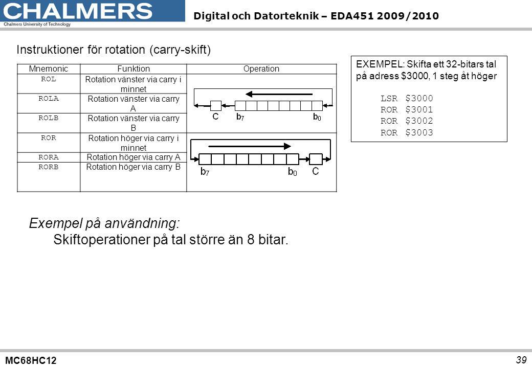 Exempel på användning: Skiftoperationer på tal större än 8 bitar.