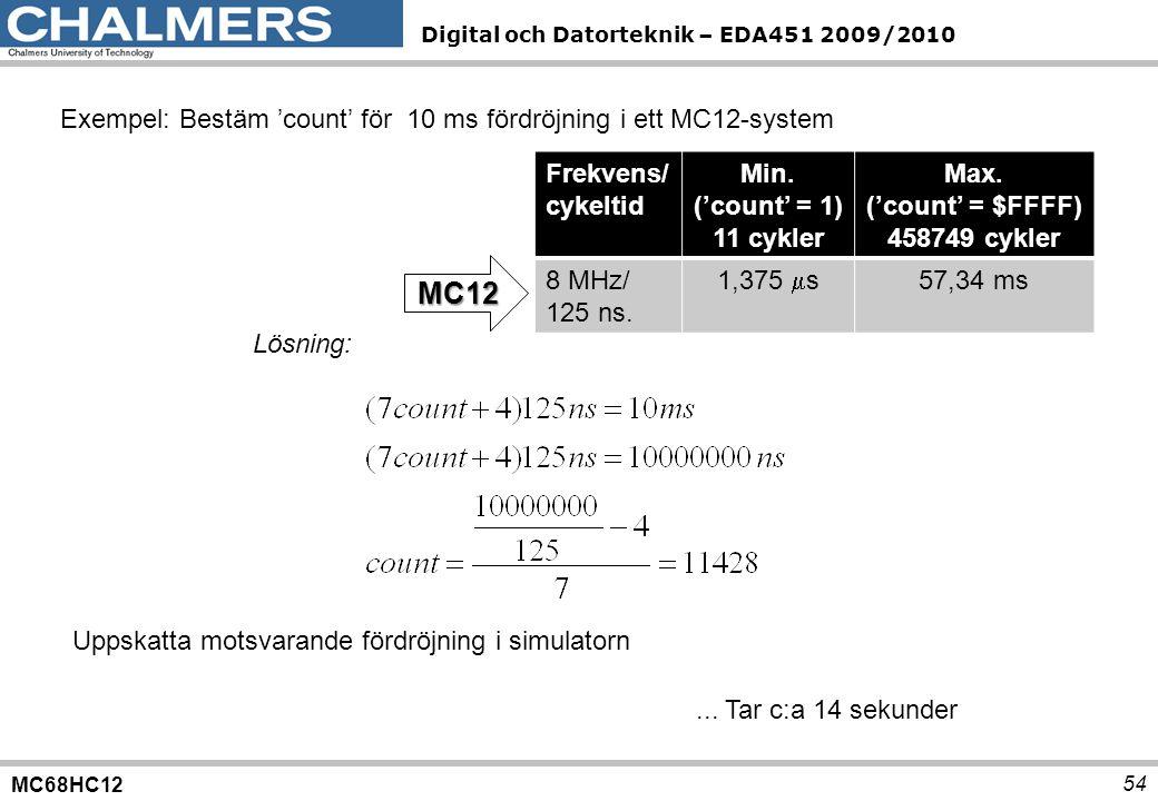 MC12 Exempel: Bestäm 'count' för 10 ms fördröjning i ett MC12-system