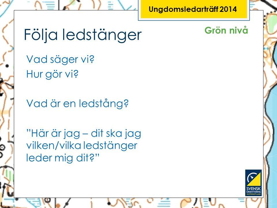 Ungdomsledarträff 2014 Följa ledstänger. Grön nivå.