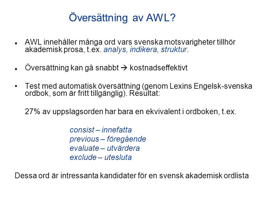 Översättning av AWL ● AWL innehåller många ord vars svenska motsvarigheter tillhör akademisk prosa, t.ex. analys, indikera, struktur.