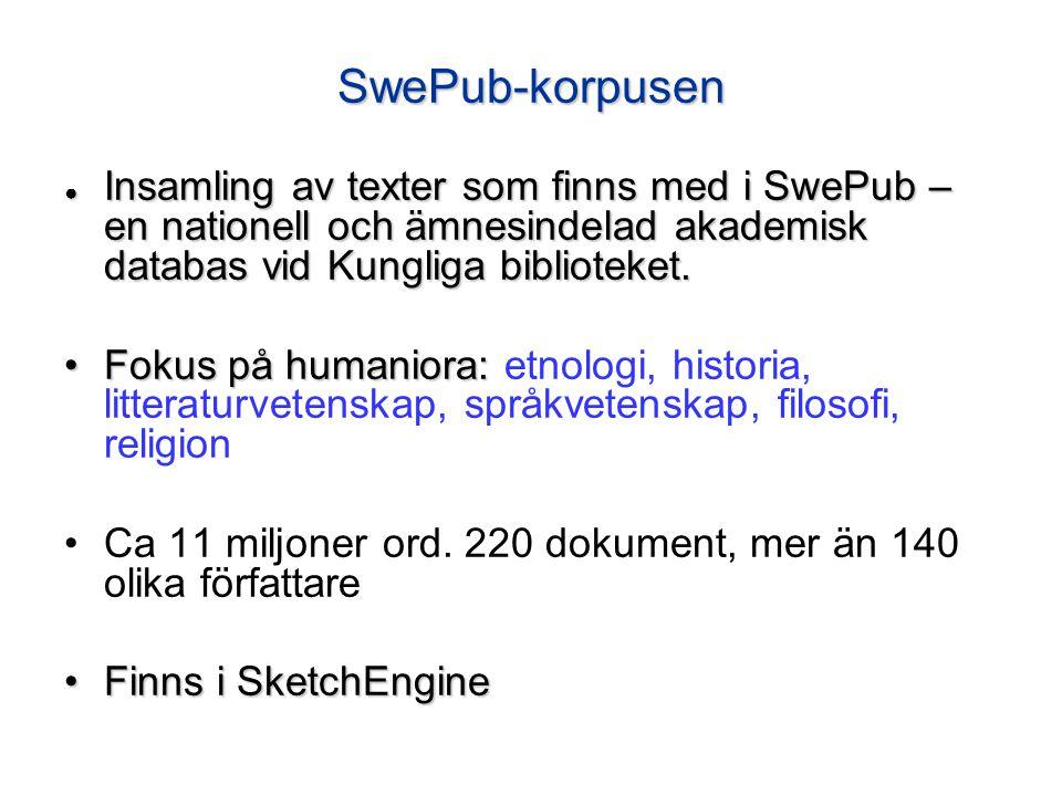 SwePub-korpusen ● Insamling av texter som finns med i SwePub – en nationell och ämnesindelad akademisk databas vid Kungliga biblioteket.