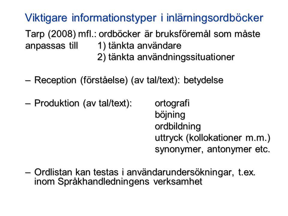 Viktigare informationstyper i inlärningsordböcker