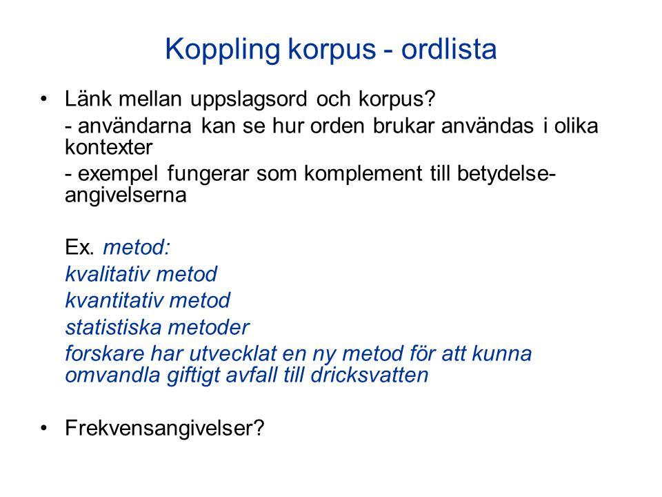 Koppling korpus - ordlista