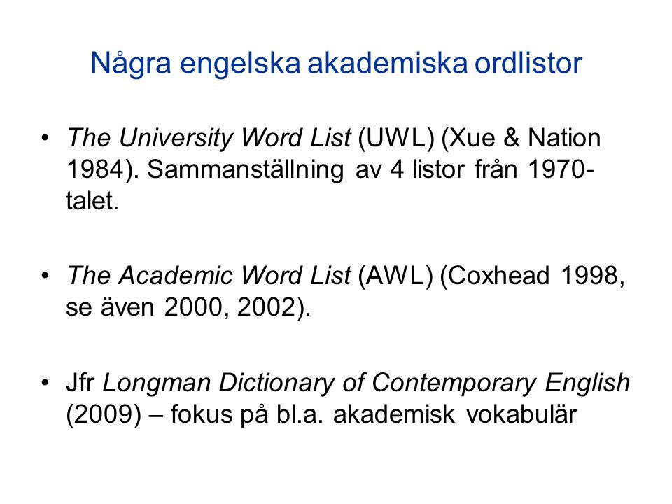 Några engelska akademiska ordlistor